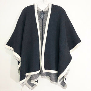 IKE BEHAR Knit Shawl Wrap Cape Black & Ivory OSFA